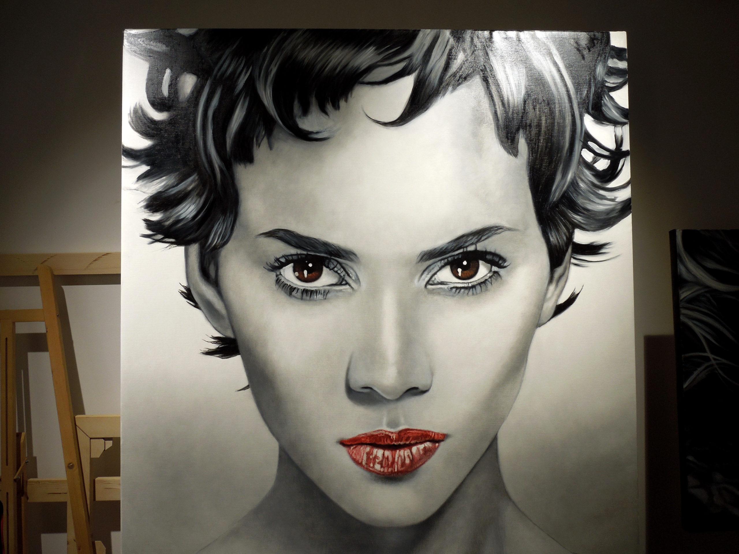 Cinzia Pellin portrait of Halle Berry, in progress, june 2020