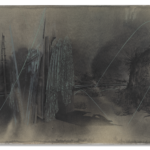 Gagosian Tatiana Trouvé The border, from the series The Great Atlas of Disorientation, 2019, Ink, linseed oil pencil on paper mounted on canvas, cm 125x200
