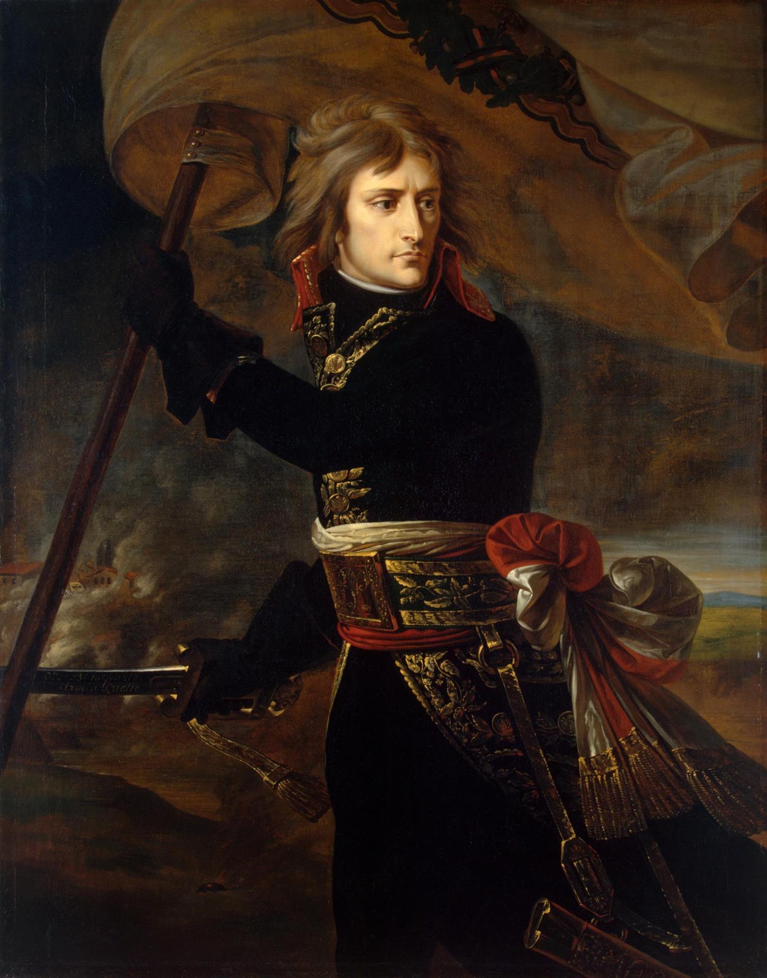 Antoine-Jean Gros, Napoleon Bonaparte on the Bridge at Arcole, late 1796 - early 1797, oil on canvas, cm 134X104, Hermitage Museum