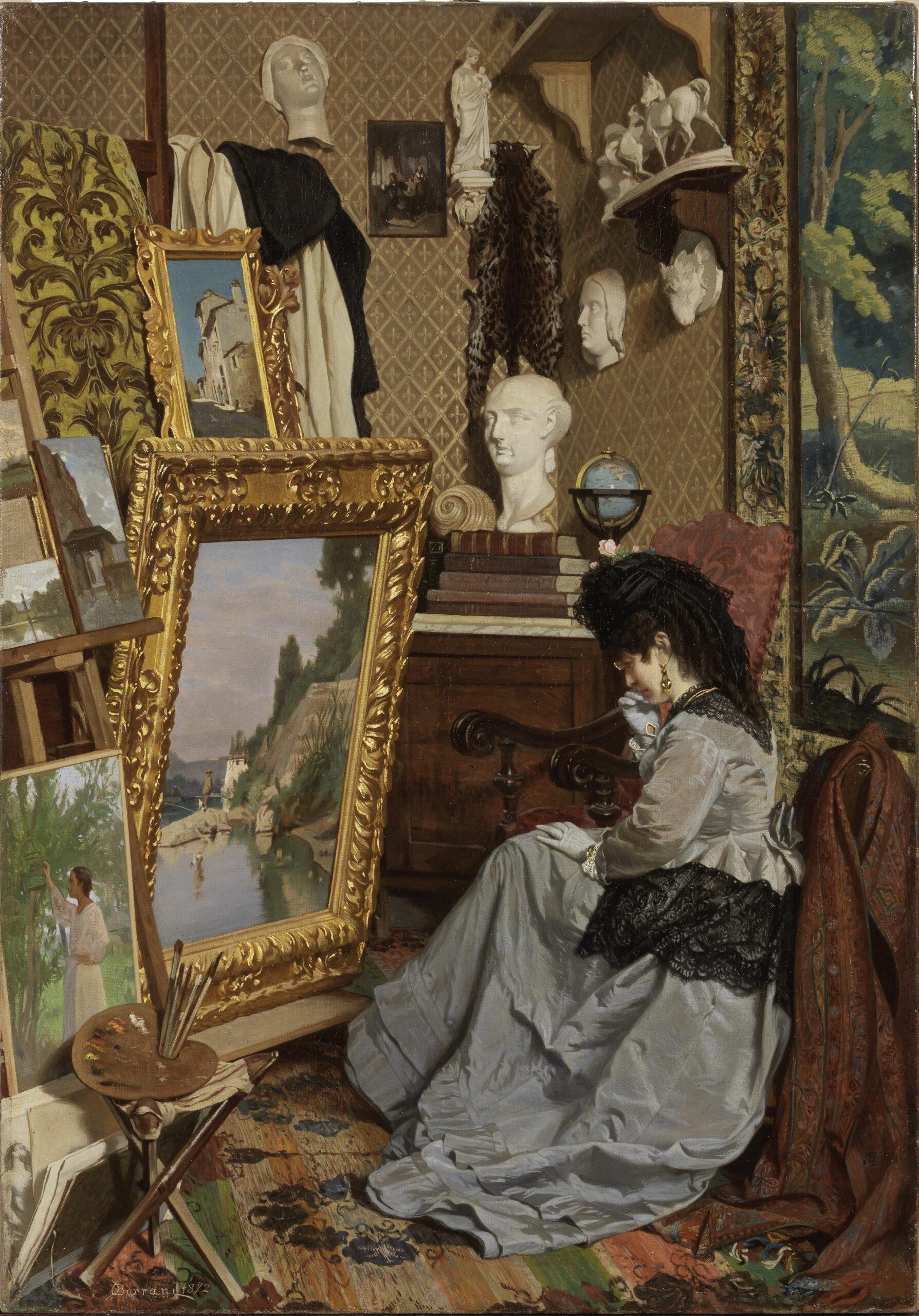 Odoardo Borrani, Una visita al mio studio, 1972 olio su tela, 64,5 x 45 cm