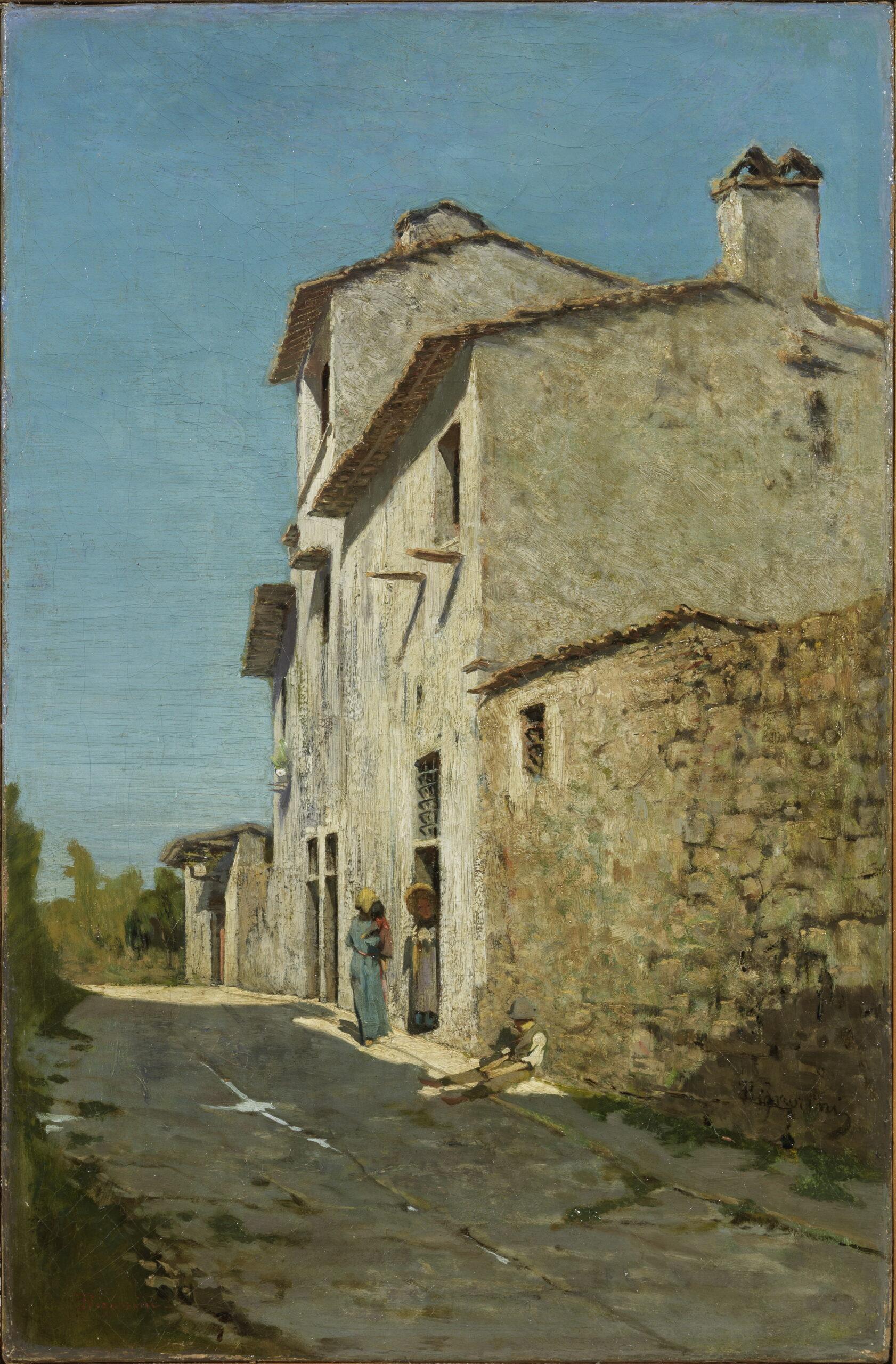 Telemaco Signorini, Nei dintorni di Firenze, 1865-66, olio su tela, 42,2 x 27,5 cm