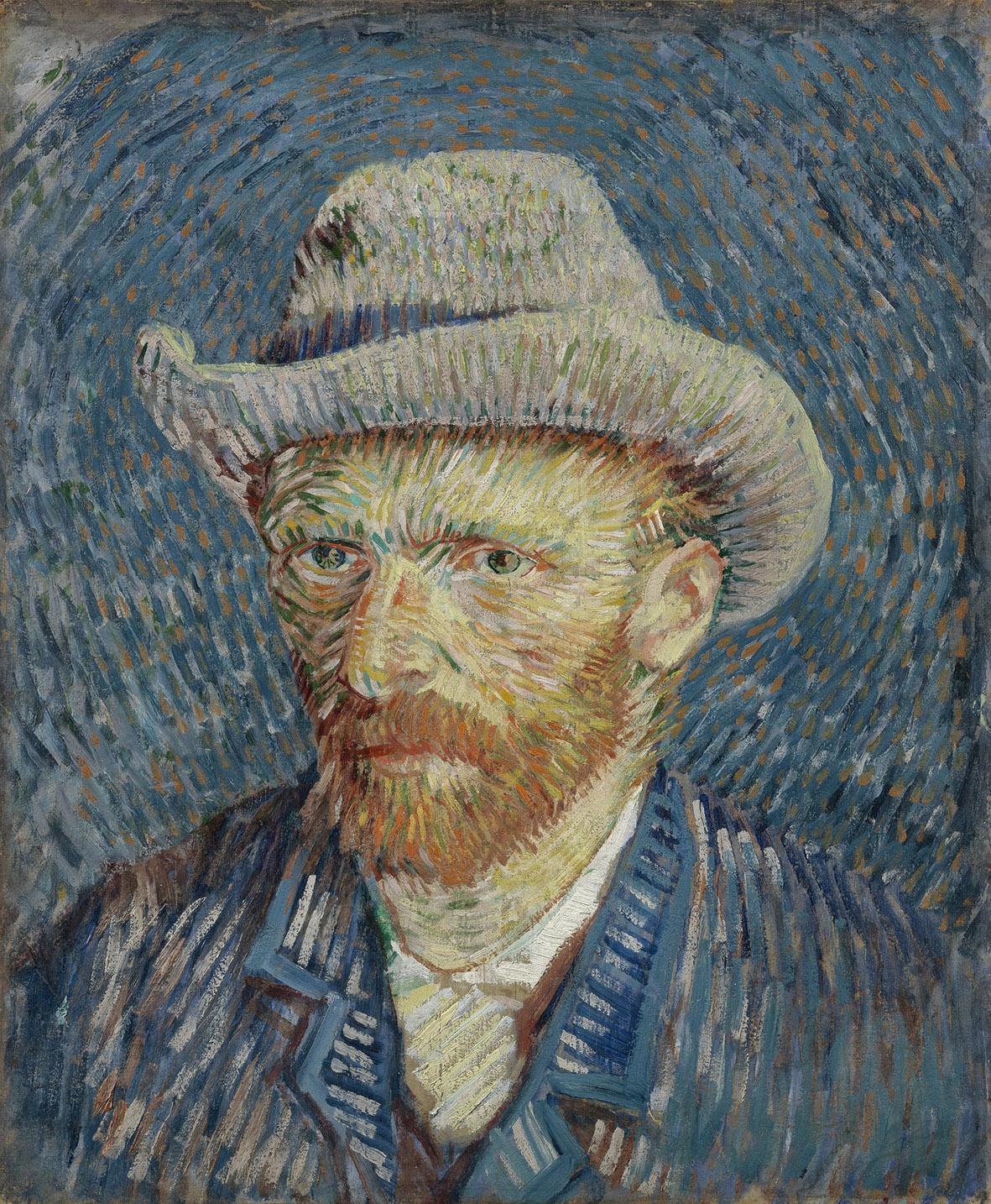 Vincent van Gogh, Autoritratto con cappello di feltro grigio, 1887, olio su tela, cm 44.5X37.2