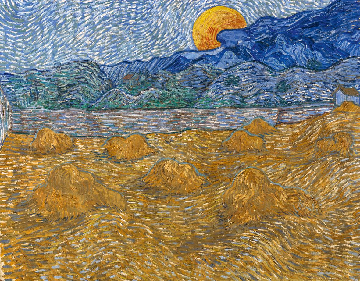 Vincent van Gogh, Paesaggio con covoni e luna nascente, 1889, olio su tela, cm 72x91.3