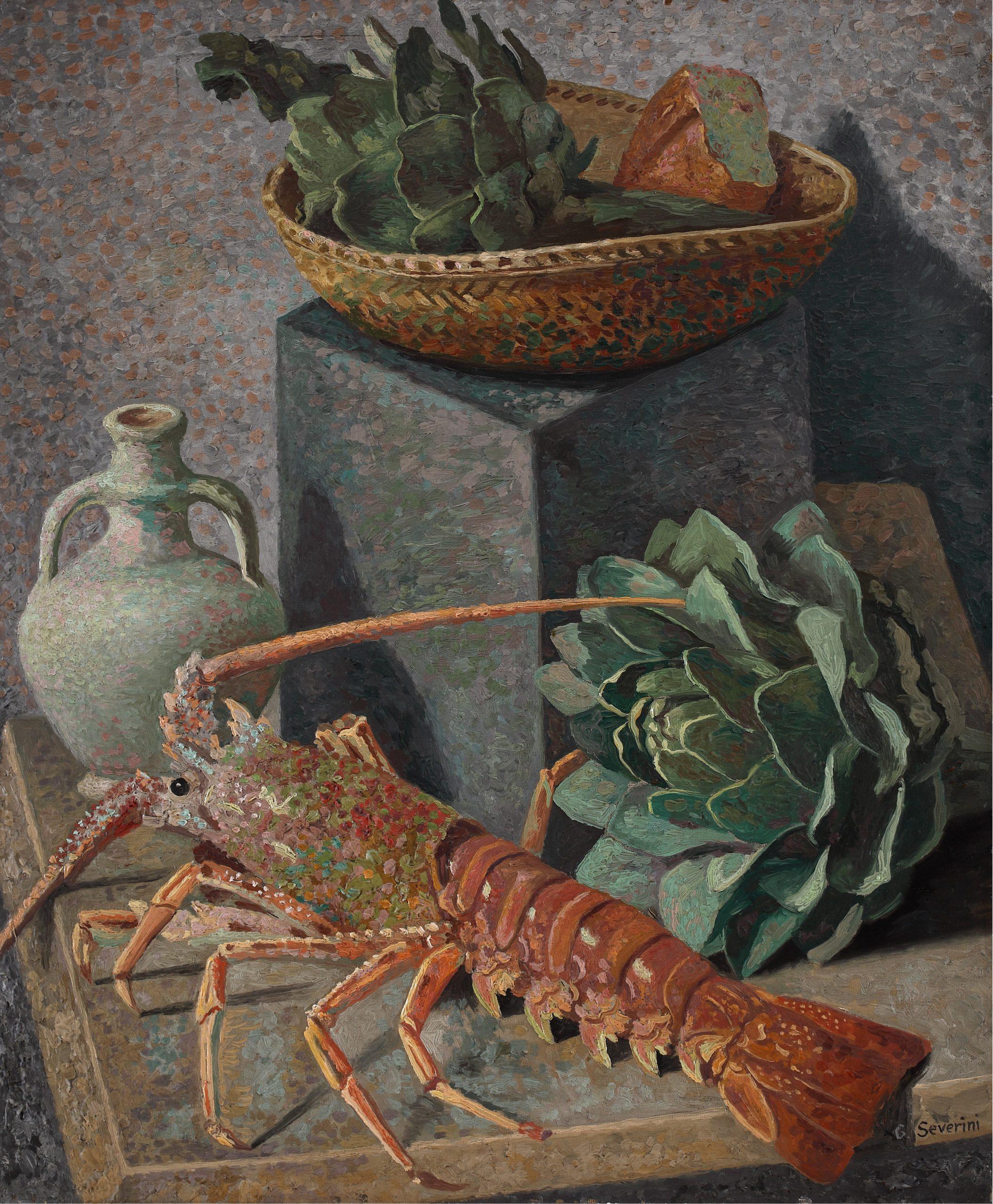 Severini, Natura morta con aragosta, 1932-33 ca., Olio su tela, cm. 61x50