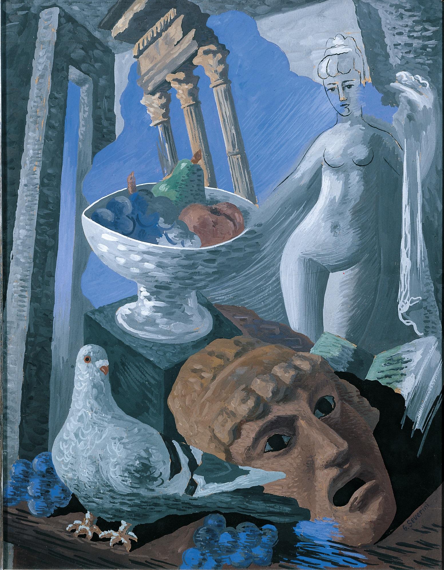 Severini, Natura morta con ruderi, piccione e statua, 1931 tempera su cartoncino, cm. 65x50