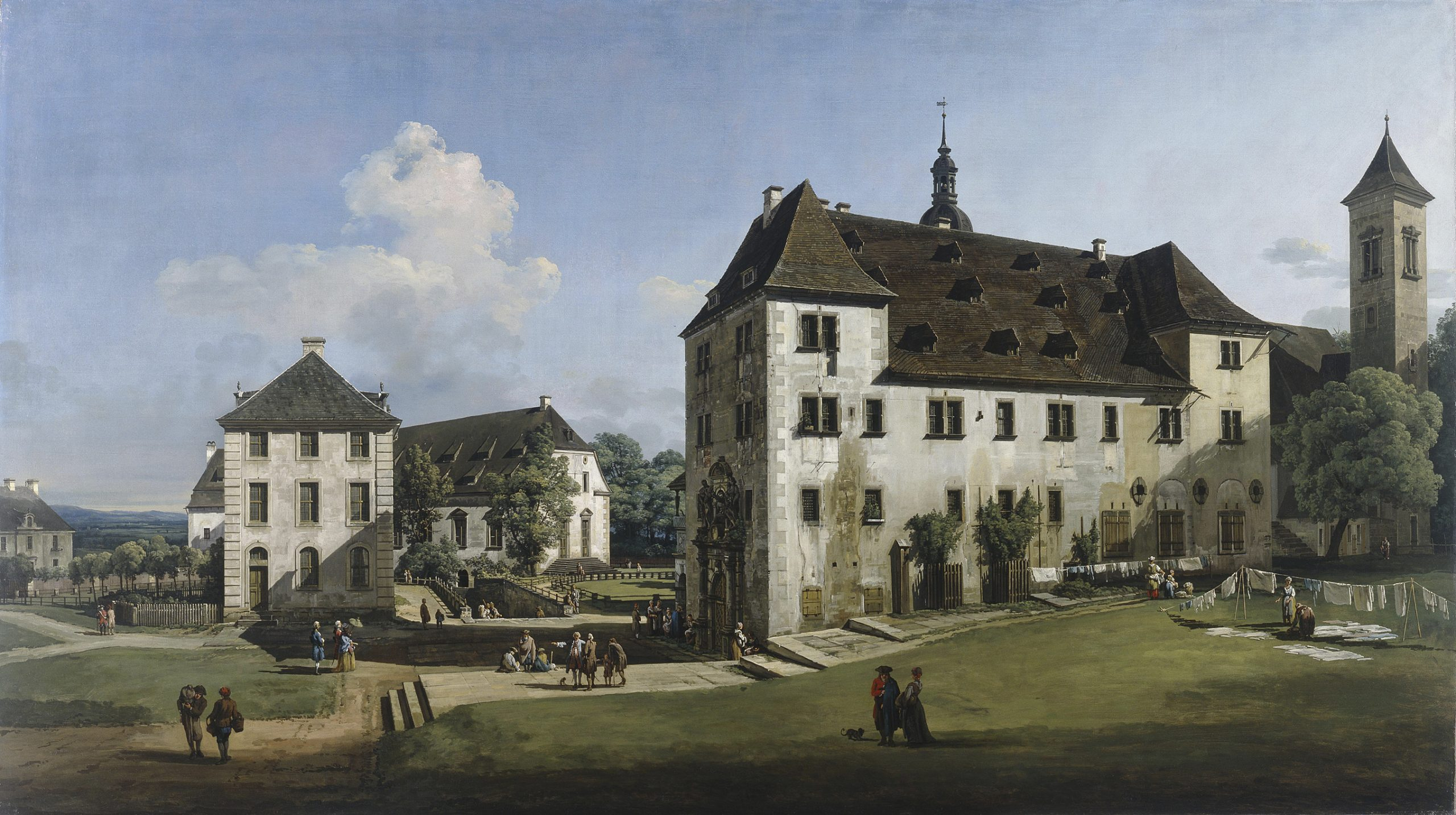 Bernardo Bellotto (1722–1780), The Fortress of Königstein Courtyard with the Magdalenenburg, 1756–8, Oil on canvas, 133.4 × 238.8 cm, @ Manchester Art Gallery_Bridgeman Images