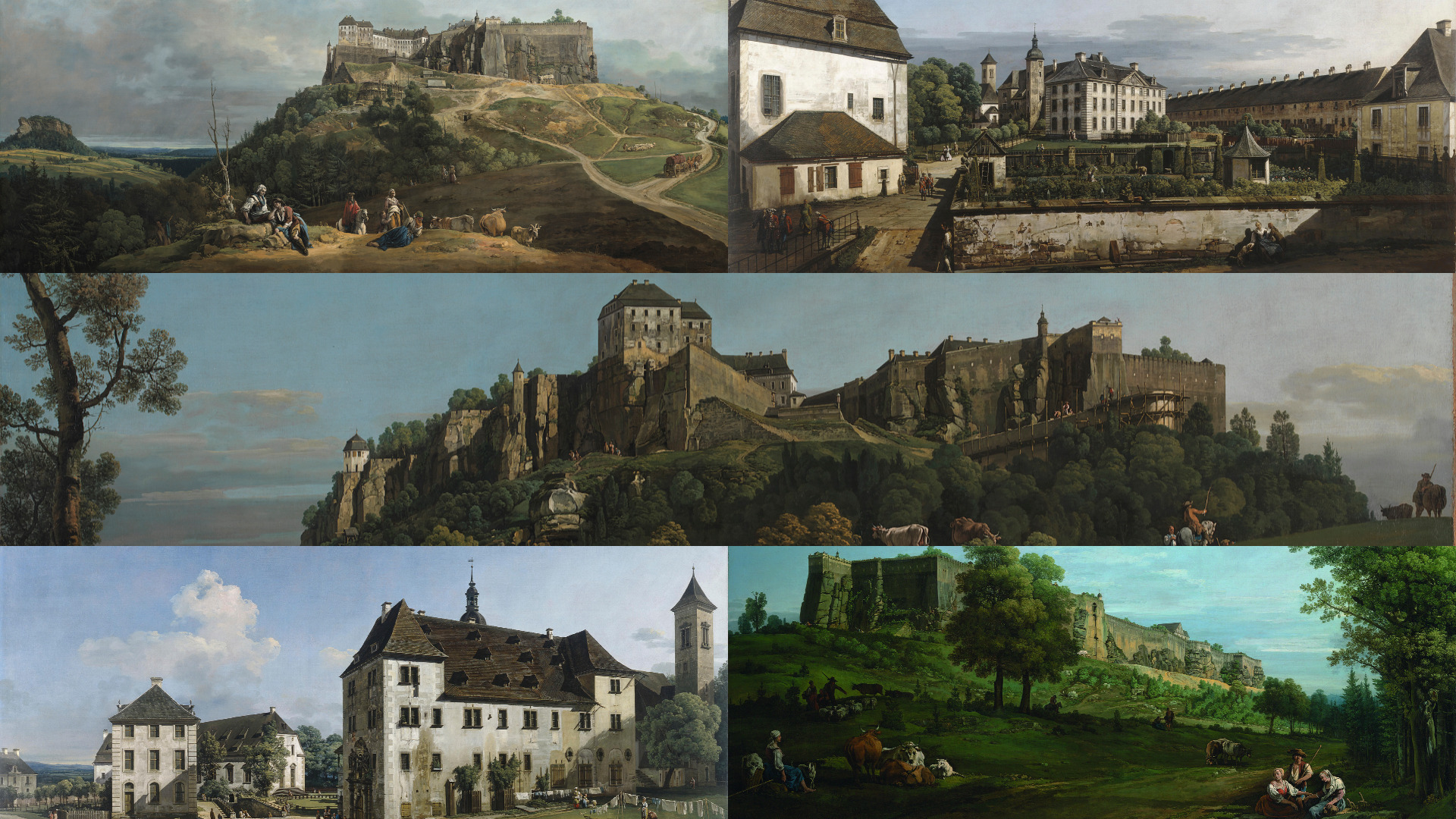 Bernardo Bellotto (1722–1780) The Fortress of Königstein Courtyard_Five versions in one_by Alain Chivilò