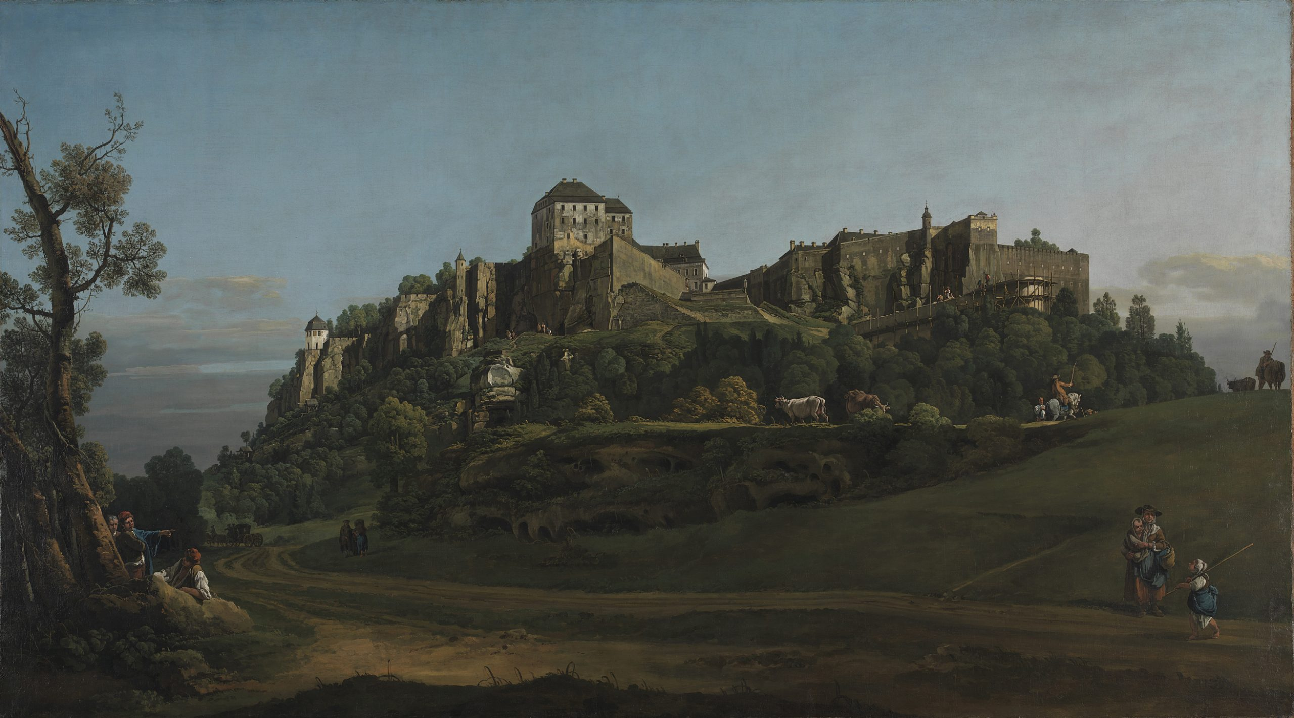 Bernardo Bellotto, The Fortress of Königstein from the North, 1756-8, Oil on canvas, 132.1 × 236.2 cm, © The National Gallery, London
