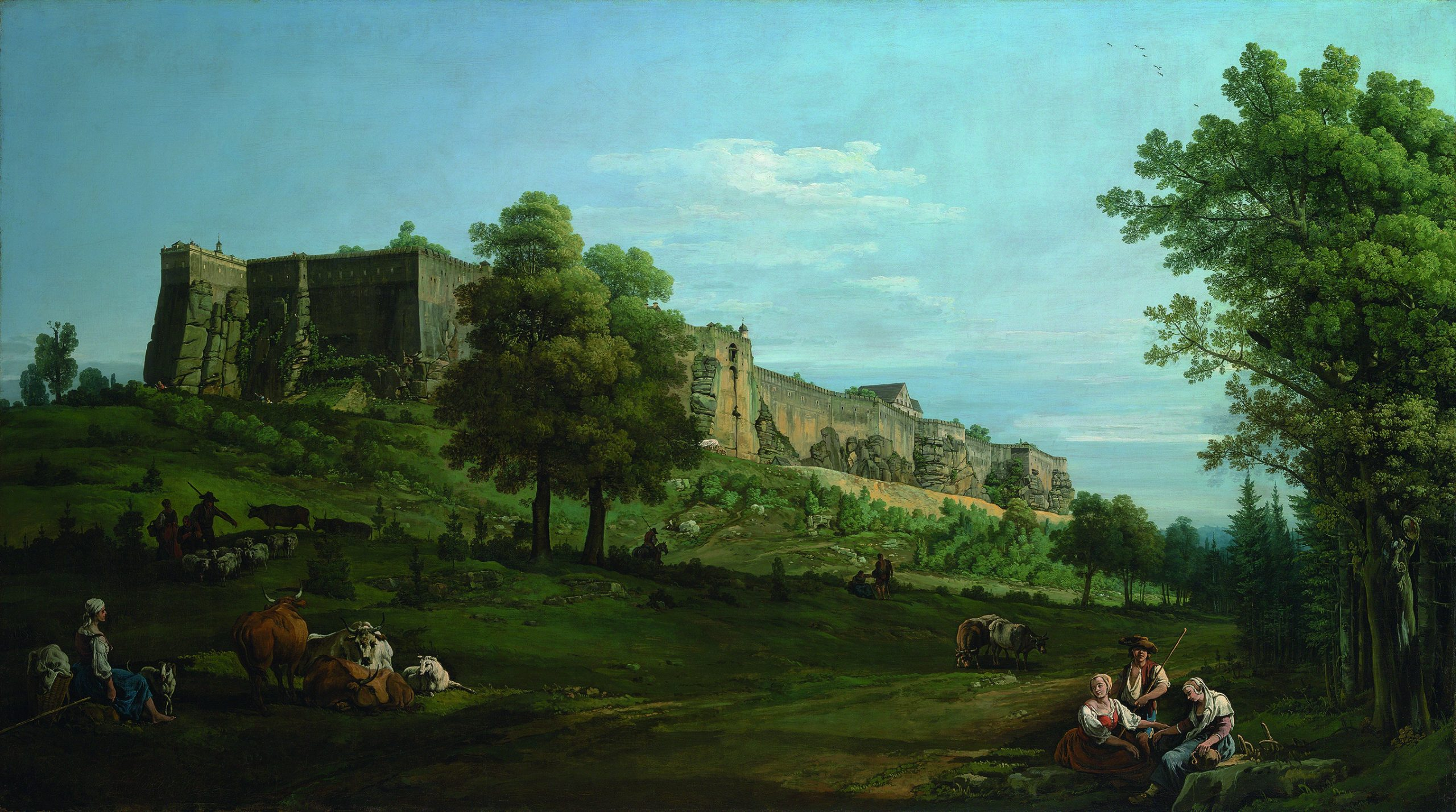 Bernardo Bellotto, The Fortress of Königstein from the South-West, 1756–8, Oil on canvas, 133.9 x 238 cm, The Earl of Derby_Photo © Christie's Images Limited