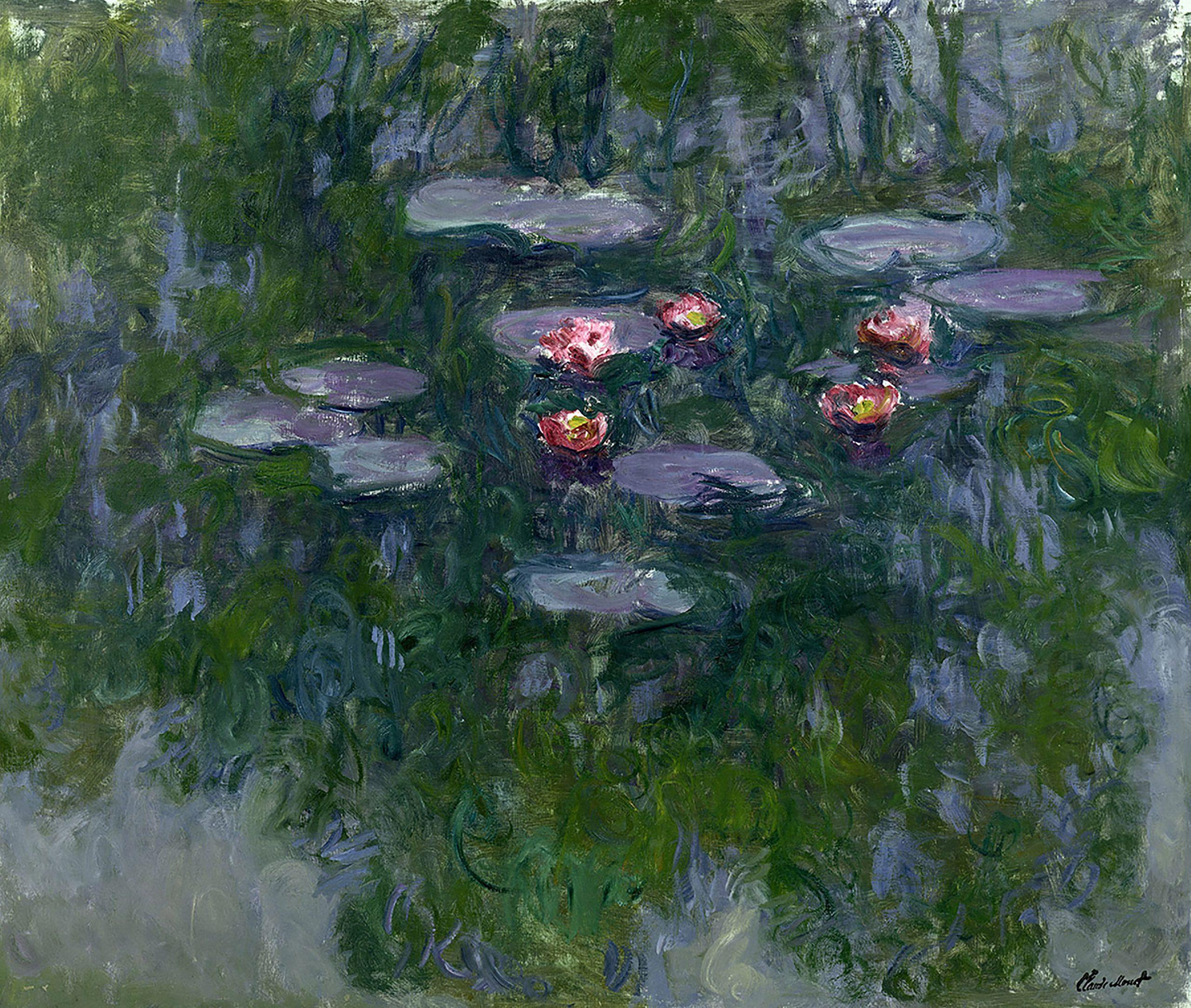 Claude Monet, Nymphéas, vers 1916-1919, Huile sur toile, 130x152 cm, Paris, musée Marmottan Monet, legs Michel Monet, 1966, Inv. 5098, © Musée Marmottan Monet, Académie des beaux-arts, Paris