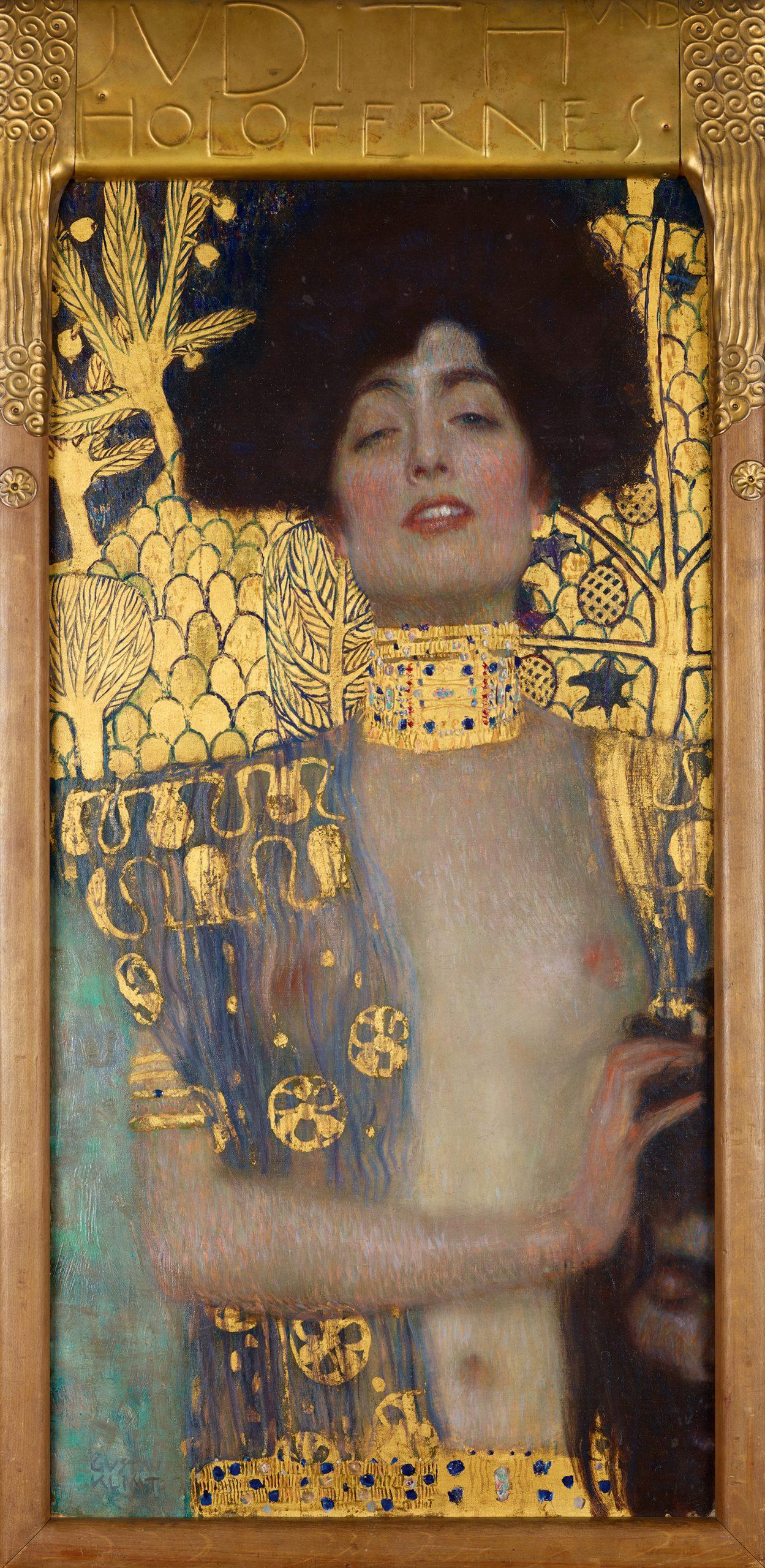 Gustav Klimt, Judith, 1901, Öl auf Leinwand, 84x42 cm, Rahmenmaße 98x48x4 cm, 5 kg, Vitrinenmaße 124x75x12 cm, Vienna, Belvedere, © Belvedere, Vienna, Photo Johannes Stoll