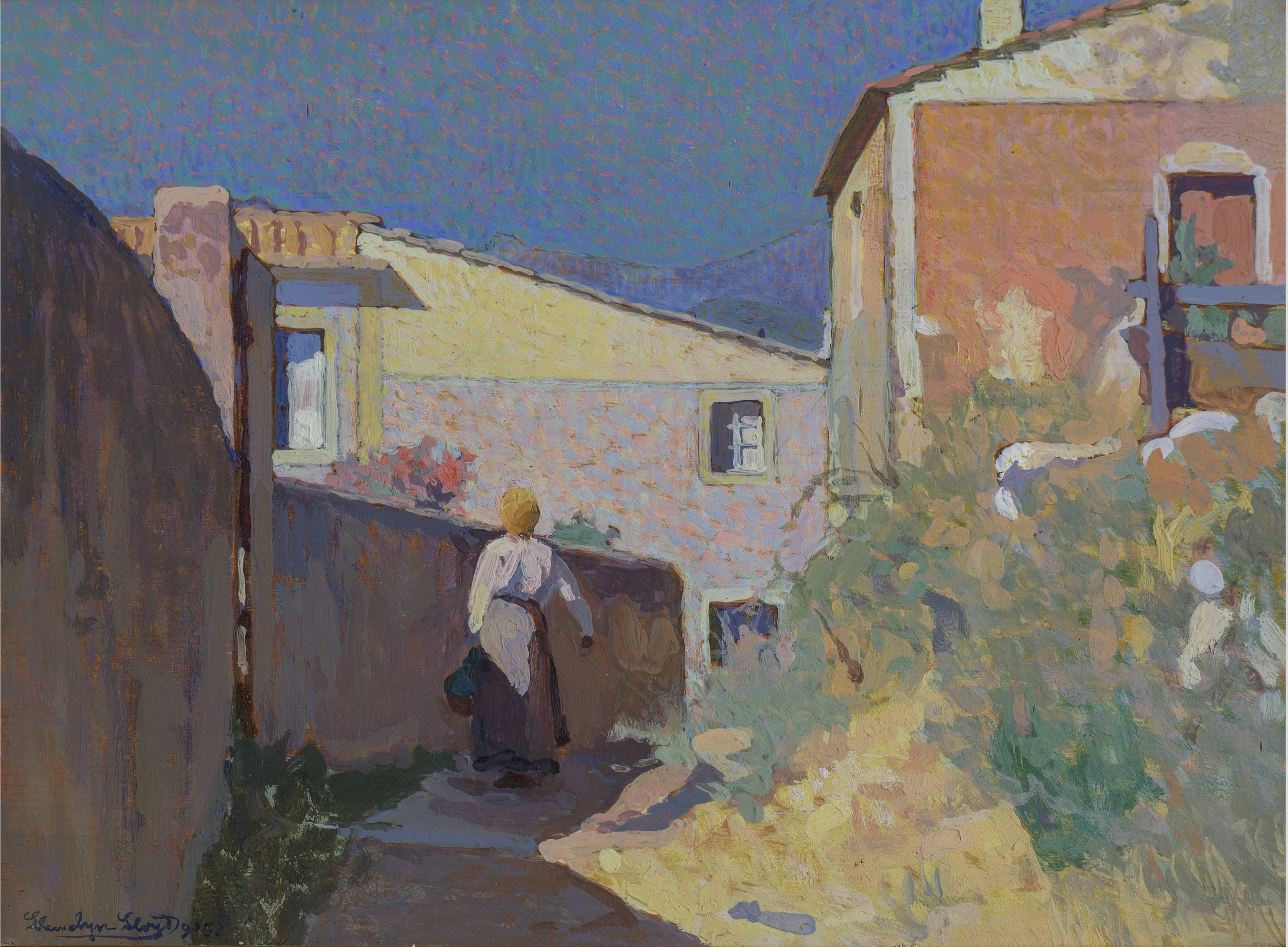 Llewelyn Lloyd, Paesaggio rosa con figura, 1916, Olio su tavola, 17,2x23,2 cm, Collezione privata, Credito fotografico Antonio Quattrone