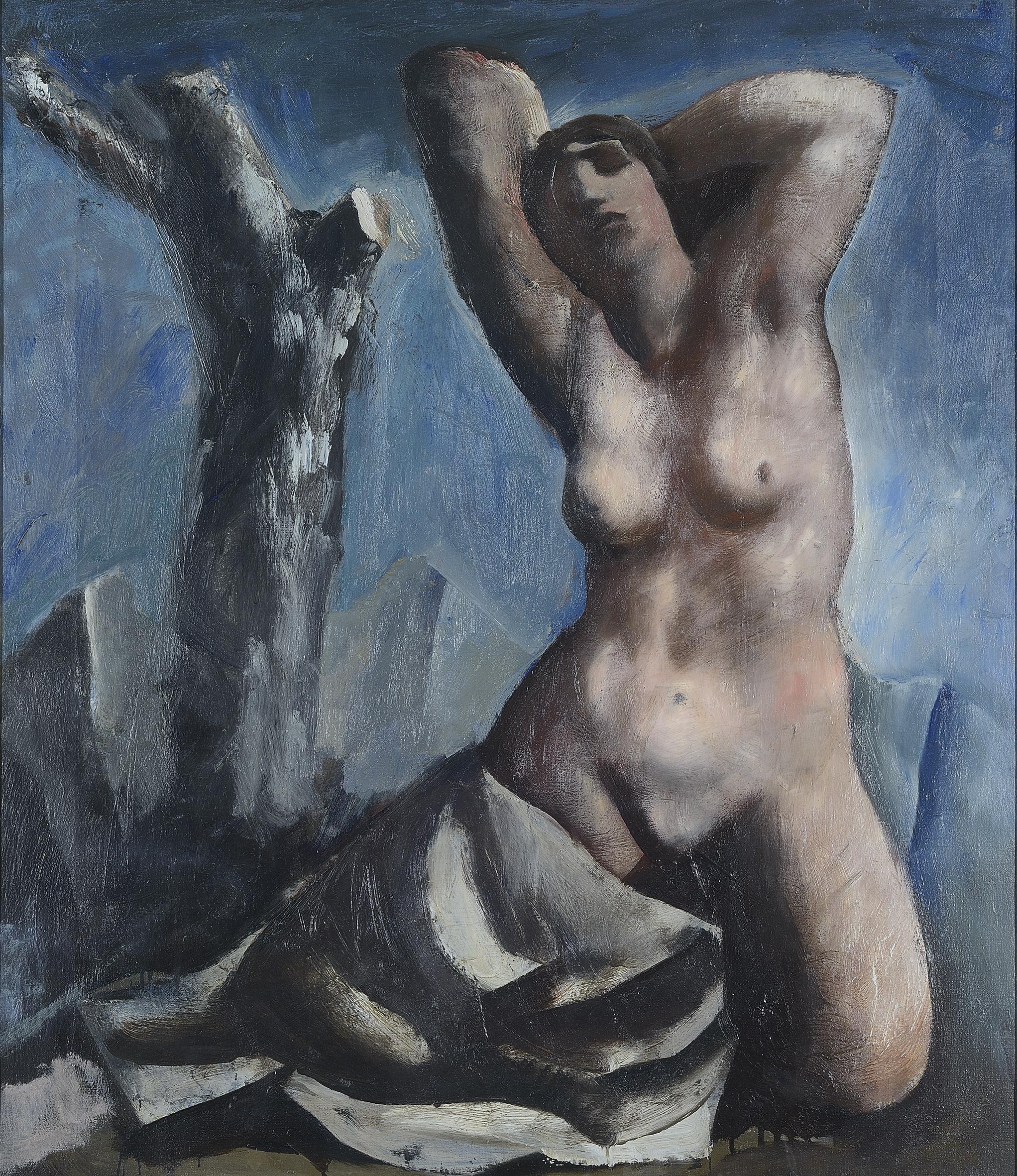 Mario Sironi, Nudo e albero, 1931 ca, olio su tela, 80 x 70 cm, Monza, collezione privata - © by SIAE 2021