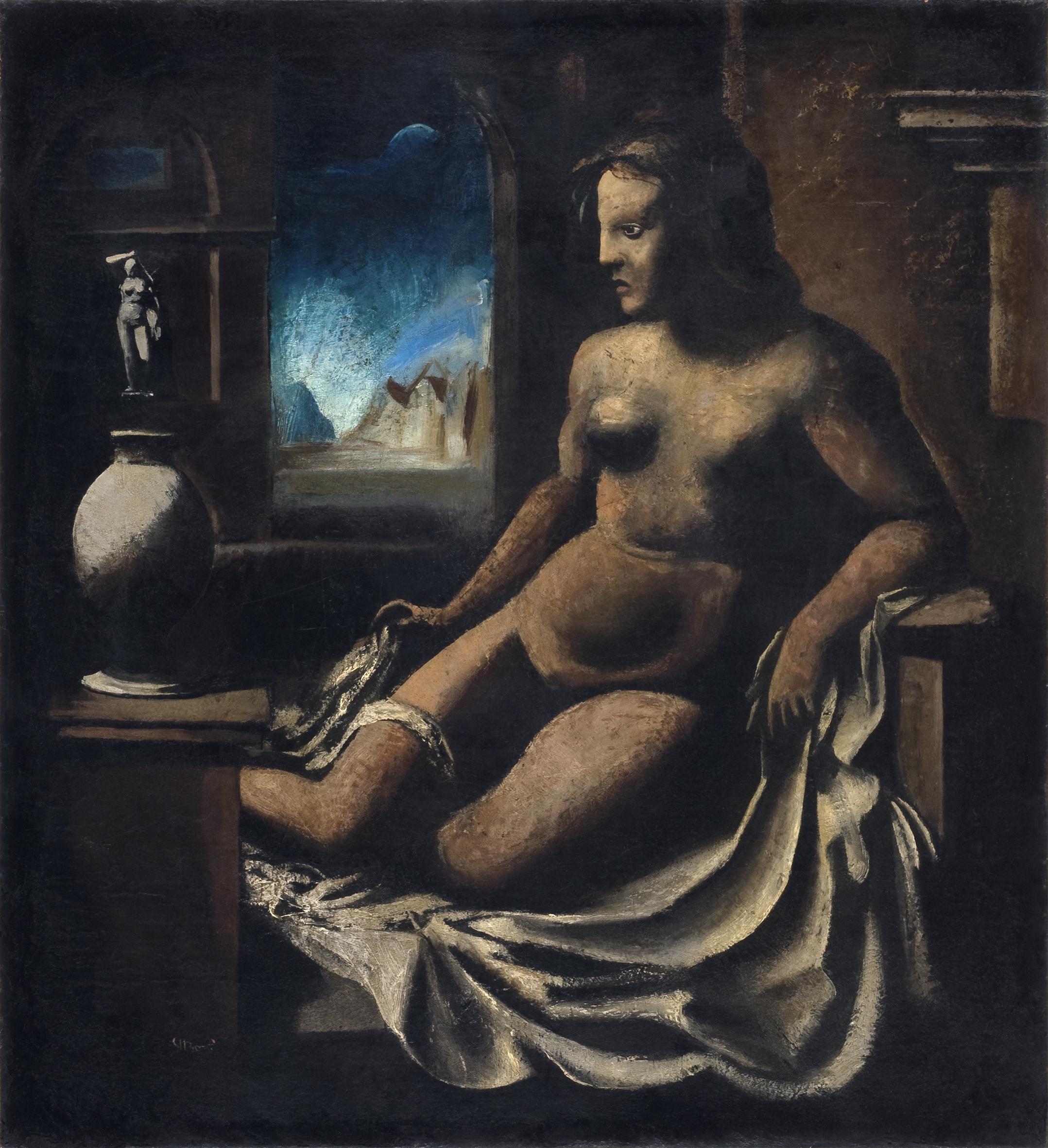 Mario Sironi, Pandora, 1921-22, olio su tela, 82 x 74 cm, collezione privata in deposito a lungo termine presso la Fondazione Musei Civici di Venezia, Gall Internazionale d'Arte - © by SIAE 2021