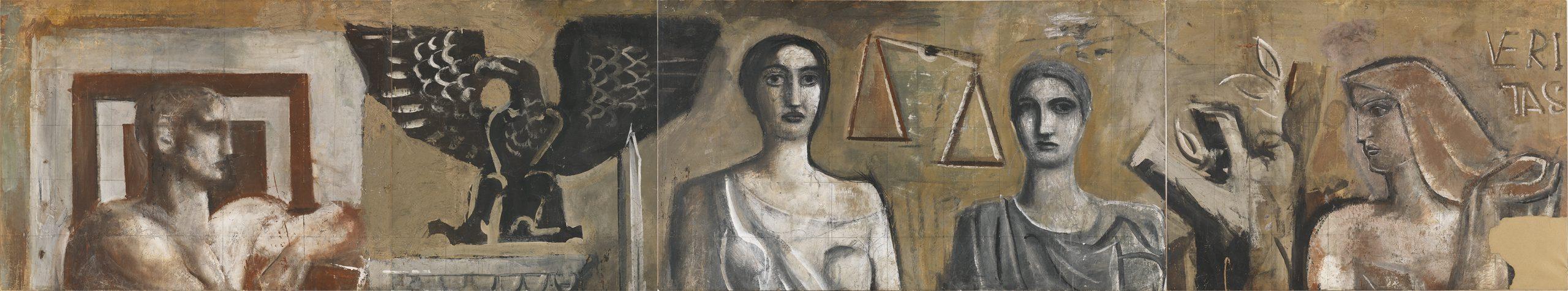 Mario Sironi, Studio preparatorio per La Giustizia tra la Forza, la Legge e la Verità, 1938 - © by SIAE 2021
