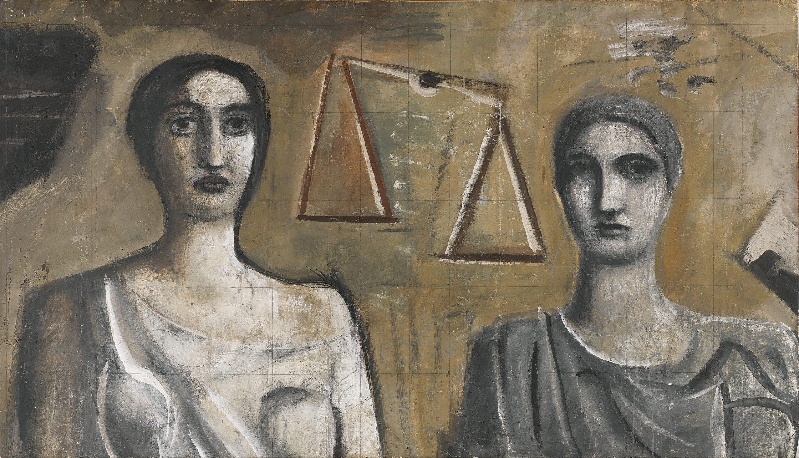 Mario Sironi, Studio preparatorio per La Giustizia tra la Forza, la Legge e la Verità, 1938 (particolare) - ©