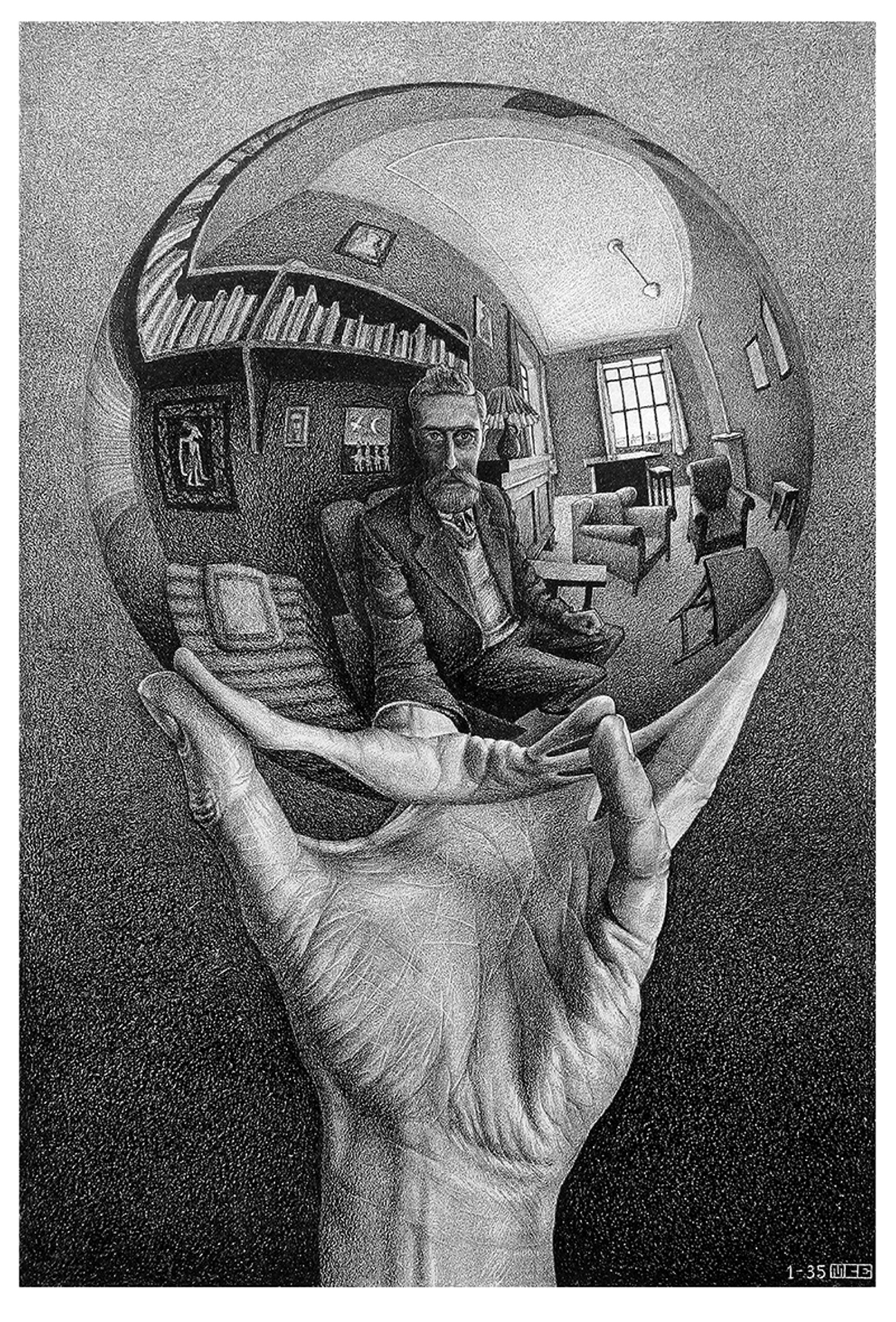 Maurits Cornelis Escher, Mano con sfera riflettente, 1935, Litografia, 31,1x21,3 cm, Paesi Bassi, Collezione Escher Foundation, All M.C. Escher works © 2021 The M.C. Escher, Company The Netherlands. All righ