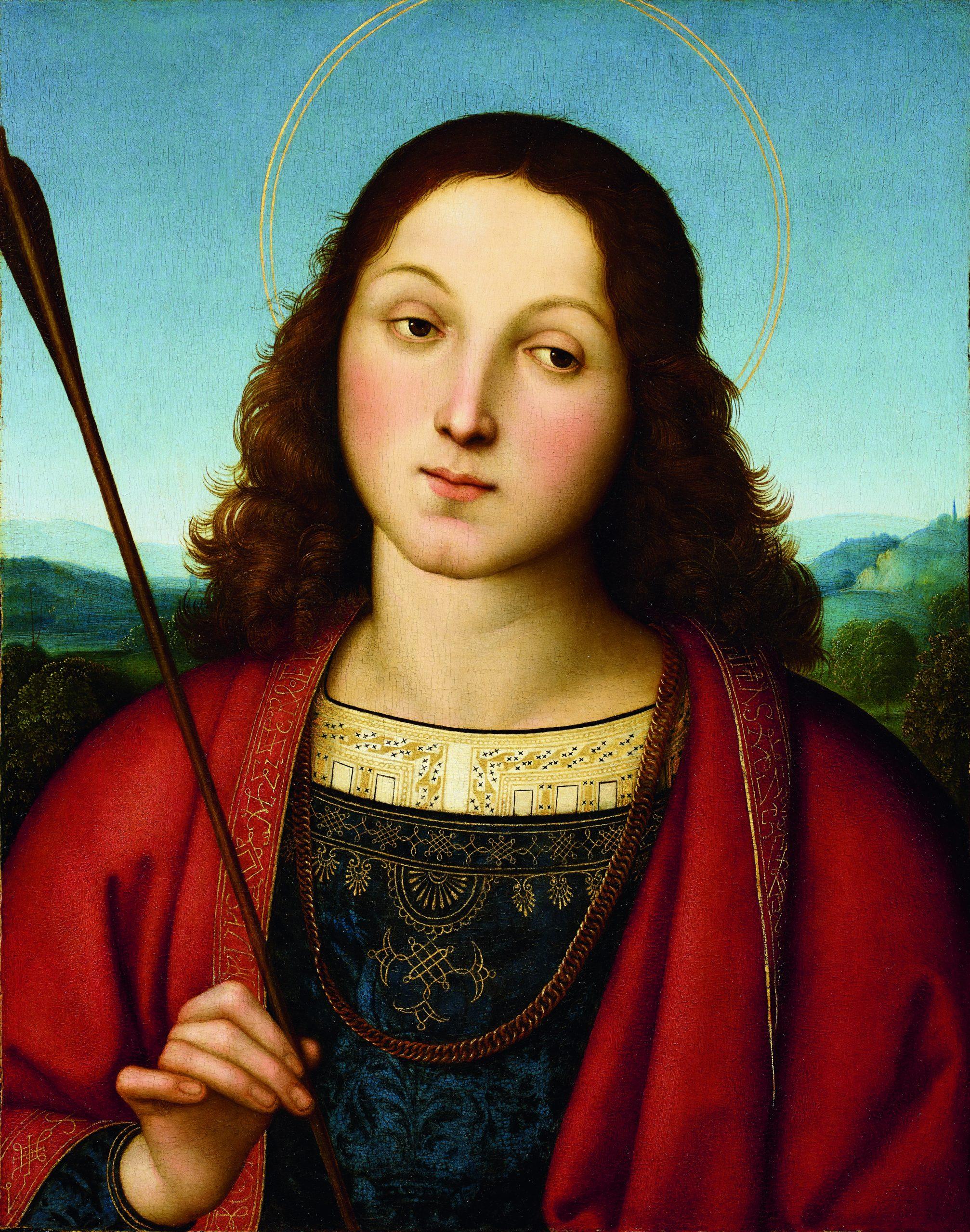Raffaello Sanzio, San Sebastiano, 1502 circa, Olio su tavola, cm. 45,5x36,1 eredità di Guglielmo Lochis, 1859 – 1866, Accademia Carrara, Bergamo (Italy)