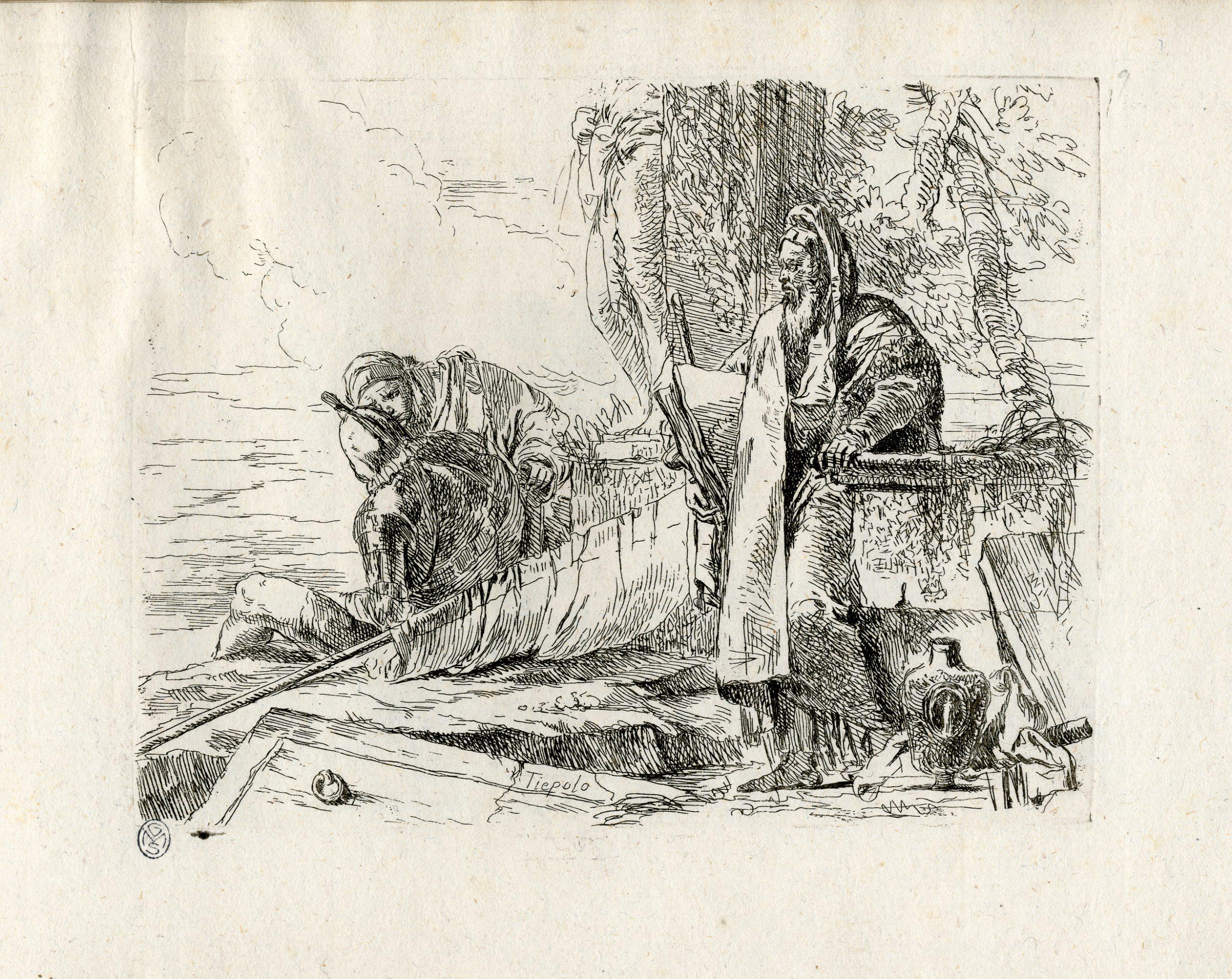 """Giambattista Tiepolo (Venezia, 1696 - Madrid, 1770) Capricci 1741-1742 (edizione postuma 1785) Acquaforte Milano, Castello Sforzesco Raccolta delle Stampe """"Achille Bertarelli"""", Albo D 243, tav. 9"""