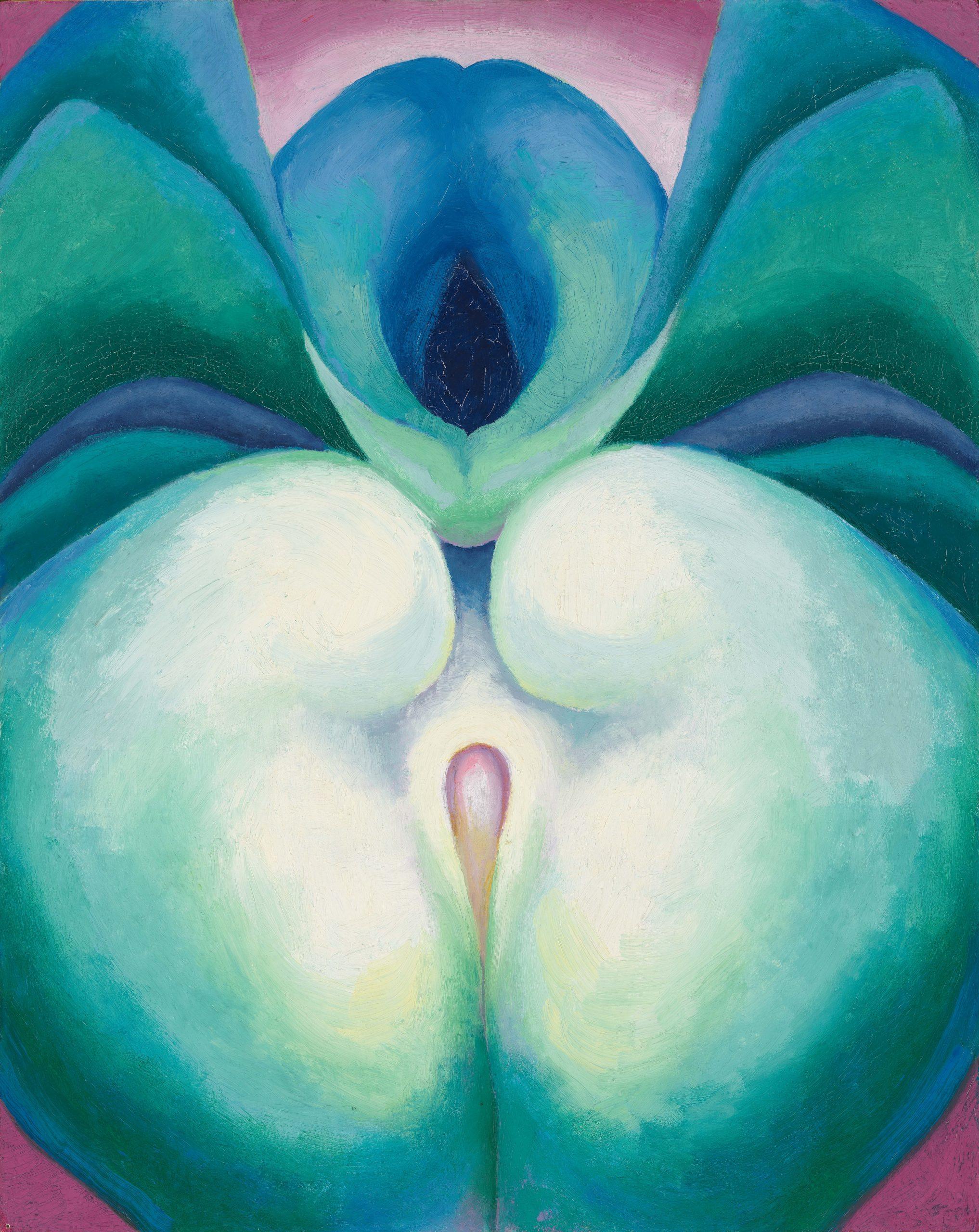 Georgia O'Keeffe Series I White & Blue Flower Shapes, 1919 Huile sur panneau, 50,5 × 40 cm Georgia O'Keeffe Museum, Santa Fe.  Gift of The Georgia O'Keeffe Foundation Courtesy Georgia O'Keeffe Museum. Photography: Tim Nighswander/Imaging4Art © Georgia O'Keeffe Museum / Adagp, Paris, 2021