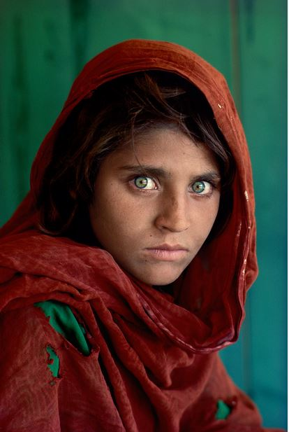 Sharbat Gula, the Afghan Girl, at Nasir Bagh refugee camp near Peshawar, Pakistan