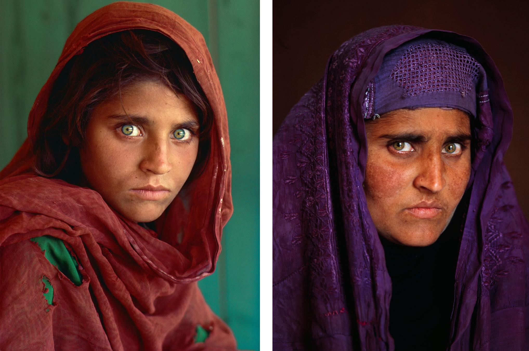 Sharbat Gula, the Afghan Girl, left, 1984 at Nasir Bagh refugee camp near Peshawar, Pakistan_right 2002