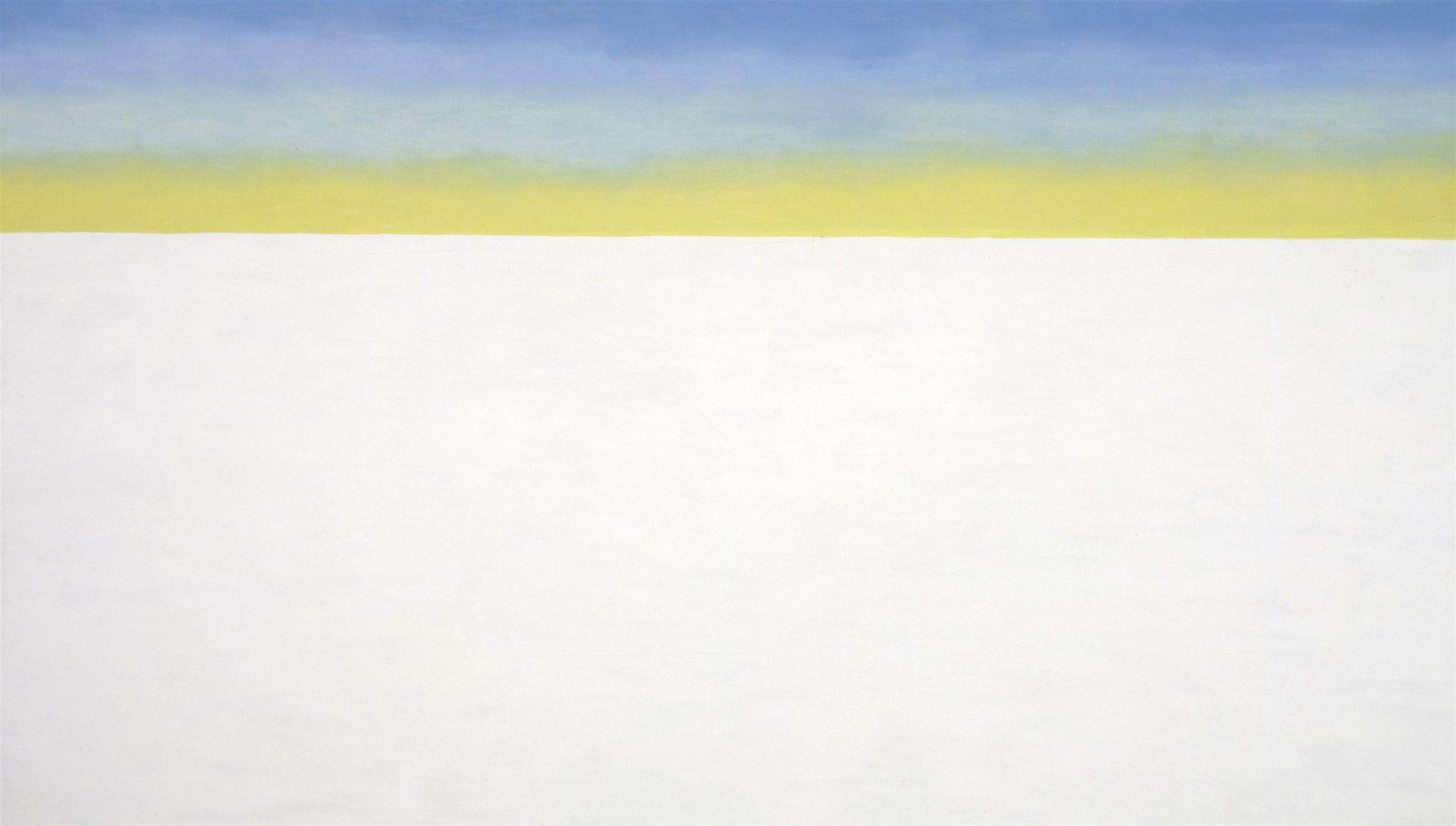 Georgia O'Keeffe Sky Above Clouds/Yellow Horizon and Clouds, 1976-1977 Huile sur toile, 121,9 × 213,4 cm Georgia O'Keeffe Museum, Santa Fe. Gift of The Georgia O'Keeffe Foundation Courtesy Georgia O'Keeffe Museum, Santa Fe  © Georgia O'Keeffe Museum / Adagp, Paris, 2021
