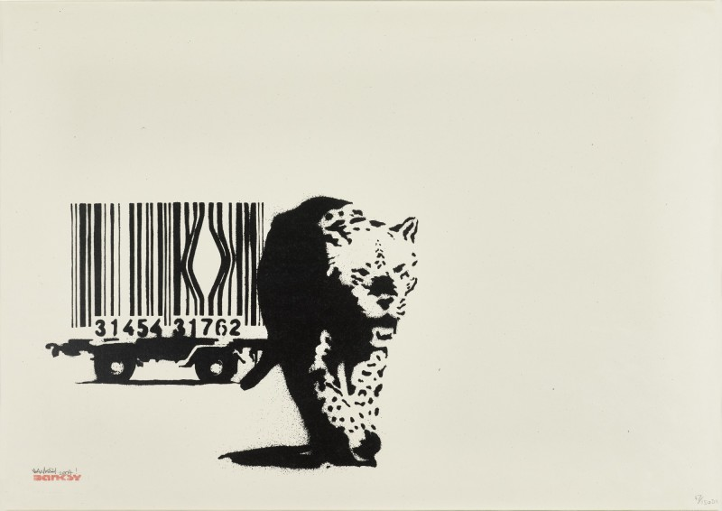 Banksy, Barcode, Screenprint, 2004, signed in pencil, dated, numbered and inscribed 47/150 DN, stamped with the BANKSY tag in red ink, published by Pictures on Walls, London, on wove paper, framed, sheet: 491 by 693mm 19¼ by 27¼in.  Sold at Sotheby's London, 17-9-2021, for GBP 113.400