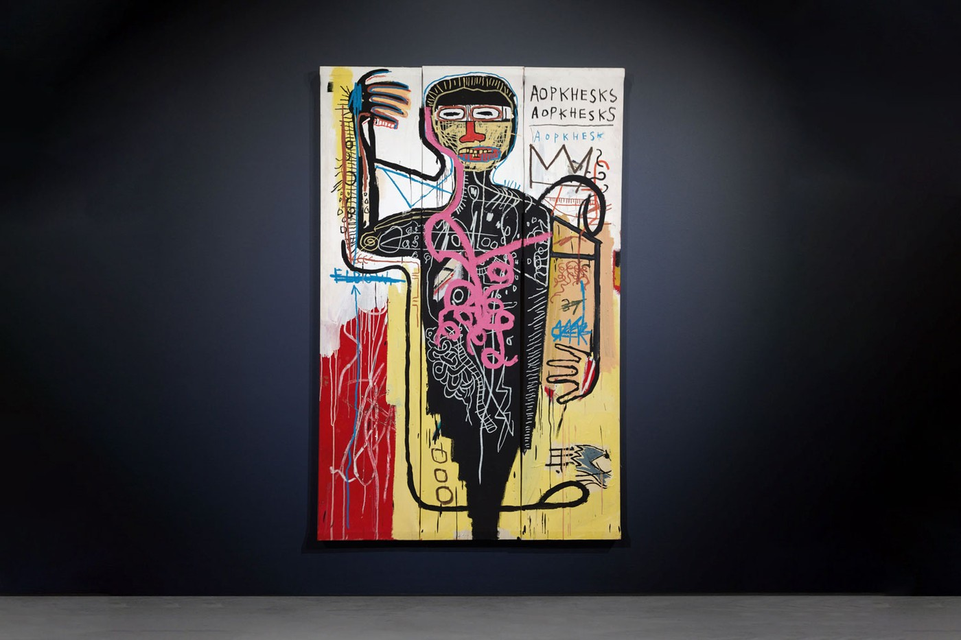 Jean-Michel Basquiat (1960 – 1988), Versus Medici, signed, titled and dated OCT. 1982 on the reverse, acrylic, oilstick and paper collage on three joined canvases, 84 ¼ by 54 ¼ in. 214 by 137.8 cm.  Sold at Sotheby's New York 12-5-2021, for USD 50.820.000